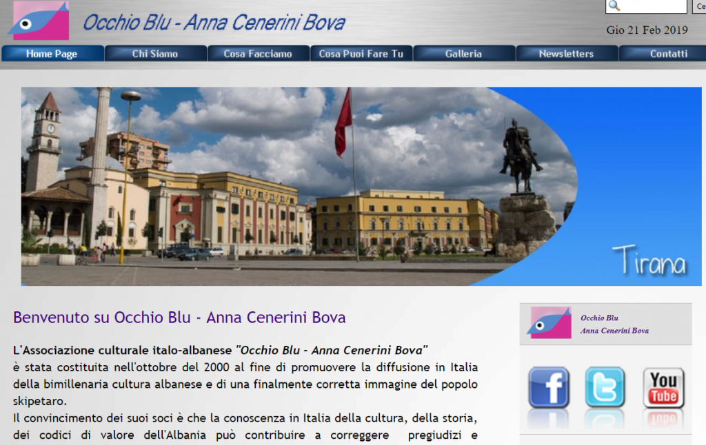Award Anna Cenerini Bova- Occhio Blu Association for young people cooperation Italy Albania